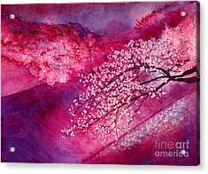 Acrylic Print featuring the painting Cherry Blossoms by Hailey E Herrera