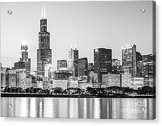 Chicago Skyline Black And White Photo Acrylic Print by Paul Velgos