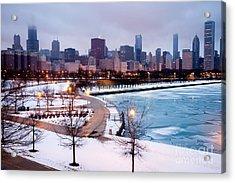 Chicago Skyline In Winter Acrylic Print by Paul Velgos