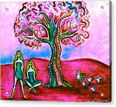 Chica's Y Pollos-blush Acrylic Print by Brenda Higginson