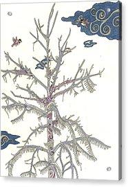 Chickadee Ice Tree Acrylic Print