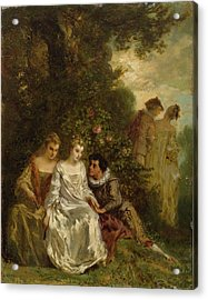 Chivalric Scene In A Park Acrylic Print by MotionAge Designs