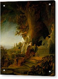 Christ And St Mary Magdalen At The Tomb Acrylic Print by Rembrandt van Rijn