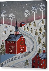 Little Christmas Tree Farm Acrylic Print by Mary Charles
