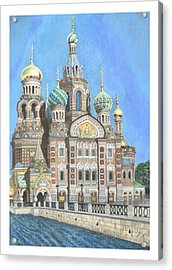 Church Of Our Savior On Spilled Blood St. Petersburg Russia Acrylic Print by Janet Grappin