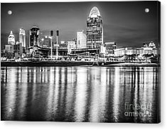 Cincinnati Skyline Black And White Picture Acrylic Print