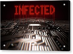 Circuit Board Infected Text Acrylic Print