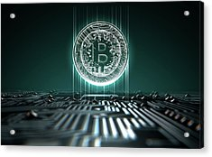 Circuit Board Projecting Bitcoin Acrylic Print by Allan Swart