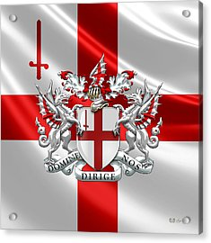 City Of London - Coat Of Arms Over Flag  Acrylic Print by Serge Averbukh