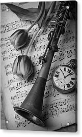 Clarinet In Black And White Acrylic Print