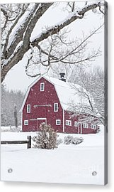 Acrylic Print featuring the photograph Classic New England Red Barn In Winter by Edward Fielding