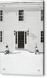 Classic New England Wood Framed Colonial Home In Winter Acrylic Print