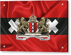 Coat Of Arms Of Amsterdam Over Flag Of Amsterdam Acrylic Print by Serge Averbukh