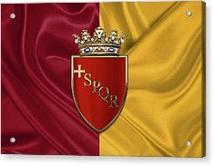 Coat Of Arms Of Rome Over Flag Of Rome Acrylic Print by Serge Averbukh