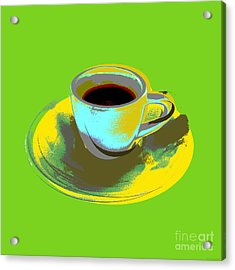 Acrylic Print featuring the digital art Coffee Cup Pop Art by Jean luc Comperat