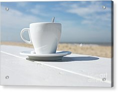 Acrylic Print featuring the photograph Coffee On The Beach by Patricia Hofmeester