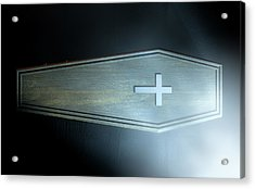 Coffin And Crucifix Acrylic Print by Allan Swart