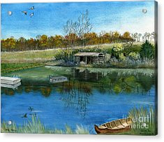 Acrylic Print featuring the painting Cole Hill Pond by Melly Terpening