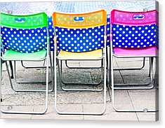 Colorful Chairs Acrylic Print by Tom Gowanlock