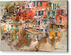 Colorful Homes In Cinque Terre Italy Acrylic Print