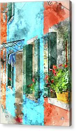 Colorful Houses In Burano Island Venice Italy Acrylic Print