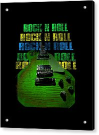 Acrylic Print featuring the photograph Colorful Music Rock N Roll Guitar Retro Distressed  by Guitar Wacky