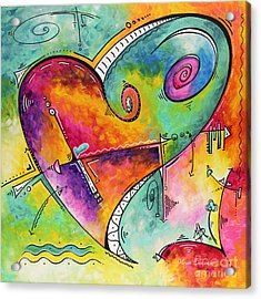 Colorful Whimsical Pop Art Style Heart Painting Unique Artwork By Megan Duncanson Acrylic Print