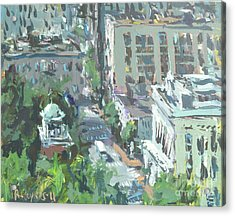 Acrylic Print featuring the painting Contemporary Richmond Virginia Cityscape Painting by Robert Joyner