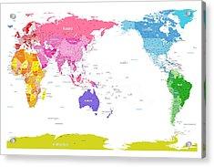 Continents World Map Acrylic Print