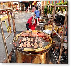 Acrylic Print featuring the photograph Cooking Meat And Eggs On A Huge Grill by Yali Shi