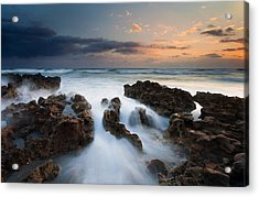 Coral Cove Dawn Acrylic Print by Mike  Dawson