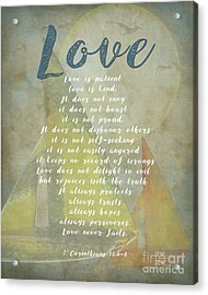 1 Corinthians 13 4-8 Love Is Patient Love Is Kind Wedding Verses. Great Gift For Men Or Home Decor. Acrylic Print