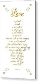Acrylic Print featuring the digital art 1 Corinthians 13 Love Is White Background by Rose Santuci-Sofranko