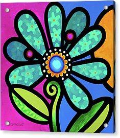 Cosmic Daisy In Aqua Acrylic Print