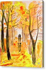 Couple On Autumn Alley, Painting Acrylic Print by Irina Afonskaya