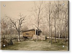 Covered Bridge In Winter Acrylic Print by David Bruce Michener
