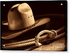 Cowboy Hat And Lasso Acrylic Print
