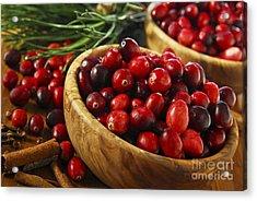 Cranberries In Bowls Acrylic Print by Elena Elisseeva