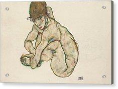 Crouching Nude Girl Acrylic Print