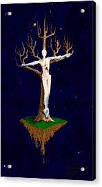 Acrylic Print featuring the digital art Crucifix by Steve  Hester