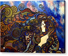 Acrylic Print featuring the painting Curly Girl by Monica Furlow