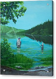 Dad And Son Fishing Acrylic Print