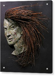 Daisy A Relief Sculpture By Adam Long Acrylic Print by Adam Long