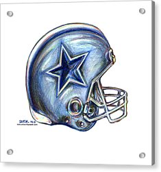 Dallas Cowboys Helmet Acrylic Print by James Sayer