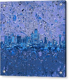 Dallas Skyline Map Blue 5 Acrylic Print