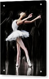 Dancer In White Acrylic Print by H James Hoff