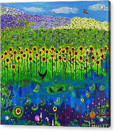 Day And Night In A Sunflower Field  Acrylic Print