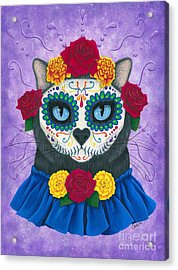 Acrylic Print featuring the painting Day Of The Dead Cat Gal - Sugar Skull Cat by Carrie Hawks