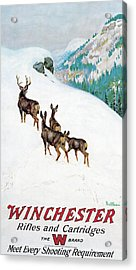Acrylic Print featuring the painting Deer In Snow by Philip R Goodwin