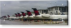 Delta Air Lines Jet At Detroit Metro Airport Acrylic Print by David Oppenheimer